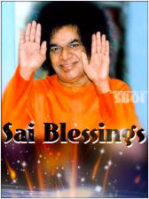 sathya sai baba blessing with both hands - photo closeup