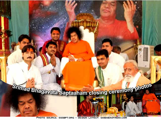 Seven-day-long Bhagavagtha Saptaaham that has been on from the 17th March concluded at 5:45, this evening, in the immediate Divine Presence of Bhagawan.