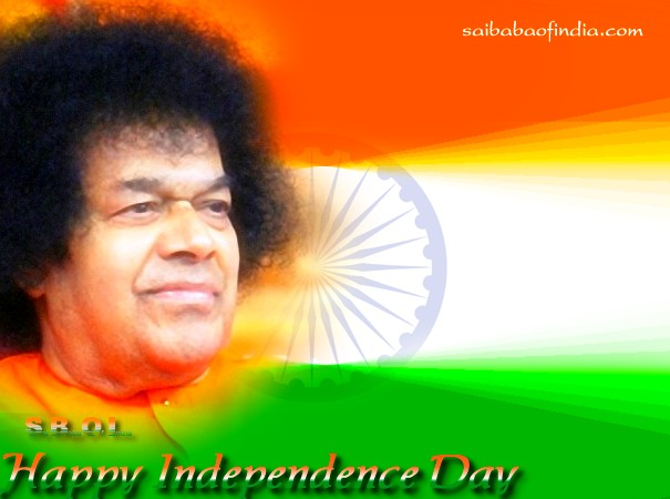 "Sai Baba theme independence day greeting cards ""15th August"""