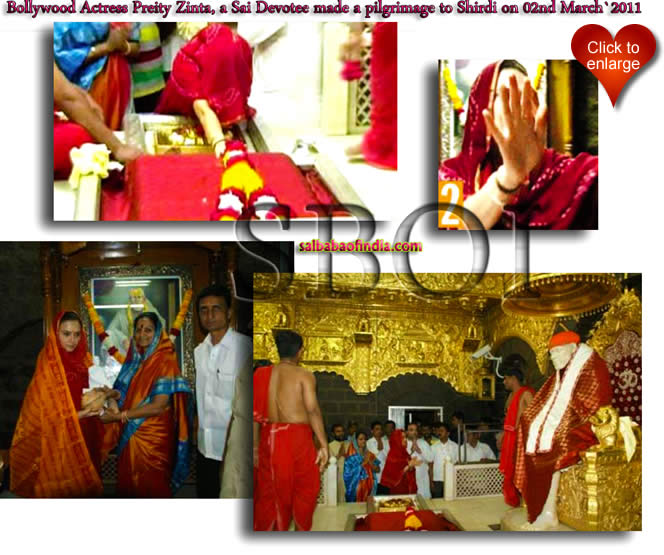 Bollywood Actress Preity Zinta, a Sai Devotee made a pilgrimage to Shirdi on 02nd March 2011